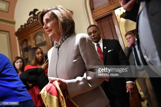 House Speaker Nancy Pelosi DCA arrives to hold an event with Rep Emanuel Cleaver DMO to settle a wager over Super Bowl LIV between the San Francisco...
