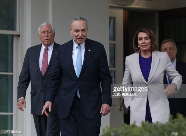 House Speaker Nancy Pelosi DCA Senate Minority Leader Chuck Schumer DNY Rep Steny Hoyer DMD and Senator Dick Durbin DIL exit the White House after...