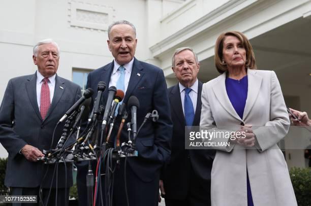 House Speaker Nancy Pelosi DCA Senate Minority Leader Chuck Schumer DNY Rep Steny Hoyer DMD and Senator Dick Durbin DIL speak to the media after...