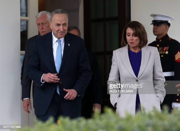 House Speaker Nancy Pelosi DCA Senate Minority Leader Chuck Schumer DNY and Rep Steny Hoyer DMD exit the White House after meeting with US President...