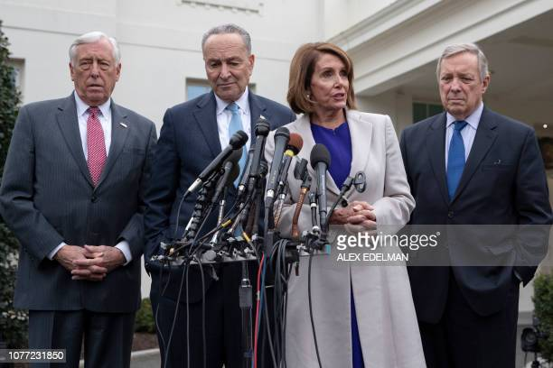 House Speaker Nancy Pelosi DCA Senate Minority Leader Chuck Schumer DNY Rep Steny Hoyer DMD and Senator Dick Durbin DIL speak with reporters at the...