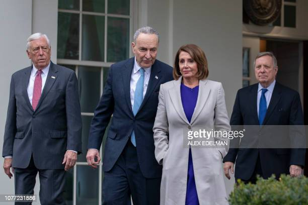 House Speaker Nancy Pelosi DCA Senate Minority Leader Chuck Schumer DNY Rep Steny Hoyer DMD and Senator Dick Durbin DIL exit the White House after...