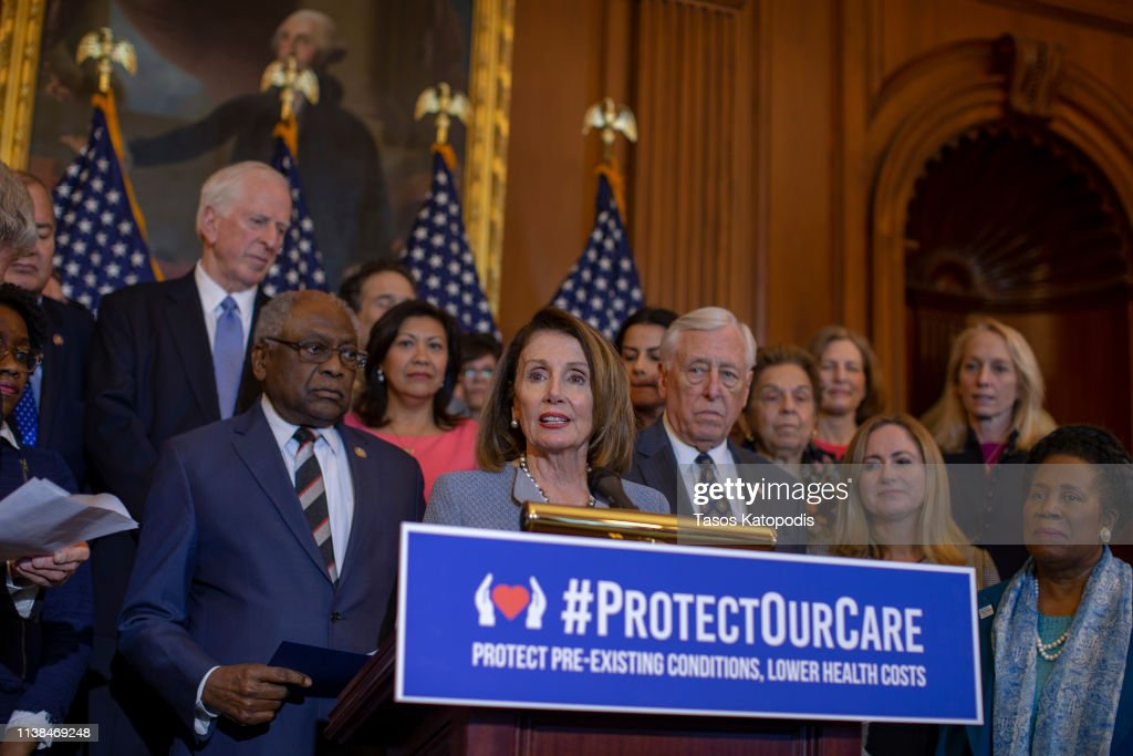 Speaker Nancy Pelosi Unveils Health Care Legislation For Pre-Existing Conditions And Lowering Costs : News Photo