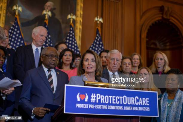 S House Speaker Nancy Pelosi holds a news conference about healthcare legislation on Capitol Hill on March 26 2019 in Washington DC On the day after...