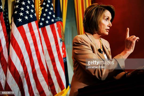 House Speaker Nancy Pelosi holds a news conference in her offices at the Capitol September 25, 2008 in Washington, DC. Pelosi mostly addressed...