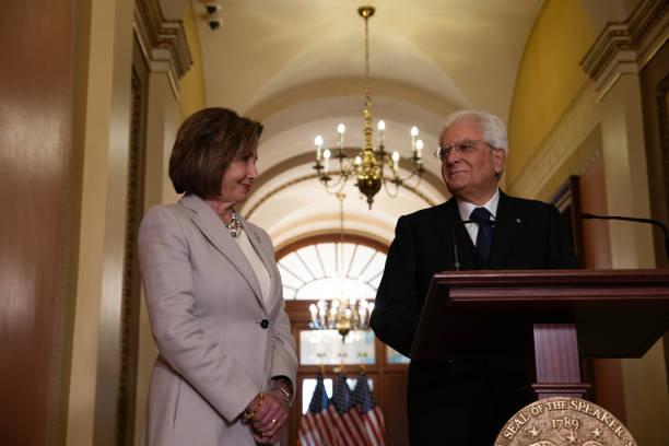DC: President Sergio Mattarella Of Italy With Nancy Pelosi