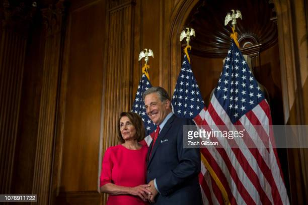 House Speaker Nancy Pelosi is pictured with her husband Paul Pelosi on Capitol Hill on January 3 2019 in Washington DC Under the cloud of a partial...