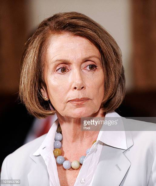 House Speaker Nancy Pelosi listens as President Barack Obama meets with congressional leaders in the cabinet room at the White House June 10 2010 in...