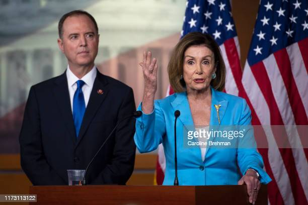 House Speaker Nancy Pelosi of Calif joined by House Intelligence Committee Chairman Rep Adam Schiff DCalif speaks during a news conference on Capitol...