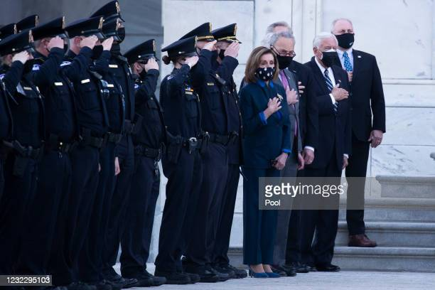 House Speaker Nancy Pelosi , Senate Majority Leader Chuck Schumer , House Majority Leader Steny Hoyer and Rep. Steve Scalise watch the casket of U.S....