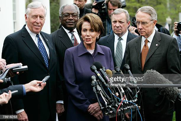 House Speaker Nancy Pelosi speak outside the White House as House Majority Leader Steny Hoyer House Majority Whip James Clyburn Senate Majority Whip...