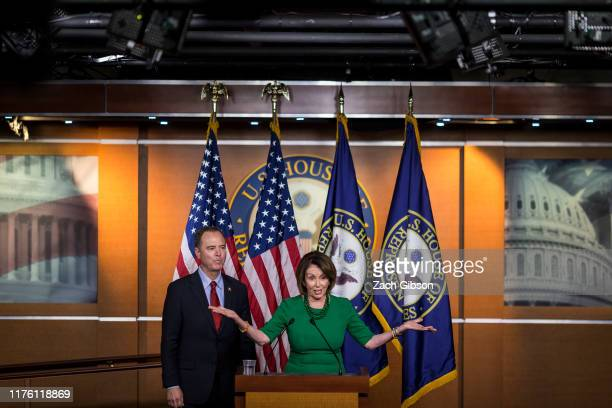 House Speaker Nancy Pelosi speaks during a news conference on Capitol Hill on October 15 2019 in Washington DC House Democrats will not hold a vote...