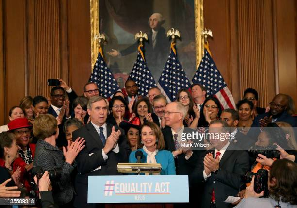 House Speaker Nancy Pelosi speaks during a news conference where House and Senate Democrats introduced the Equality Act of 2019 which would ban...