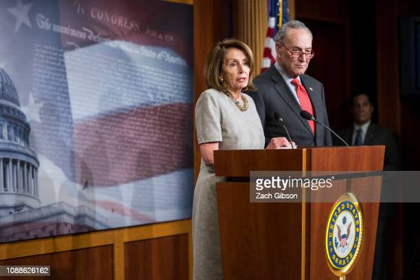 House Speaker Nancy Pelosi speaks during a news conference with Senate Minority Leader Chuck Schumer following an announced end to the partial...