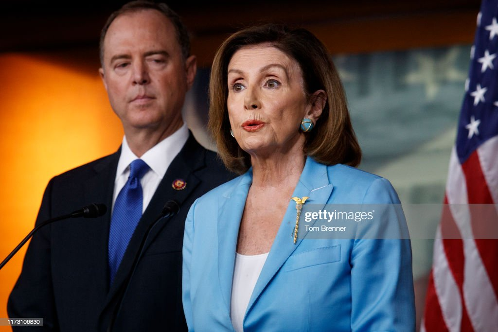 Rep. Adam Schiff Joins Nancy Pelosi At Her Weekly News Conference On Capitol Hill : News Photo