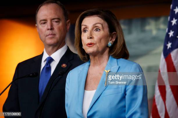 House Speaker Nancy Pelosi speaks during a weekly news conference with House Intelligence Committee Chairman Adam Schiff on October 2 on Capitol Hill...