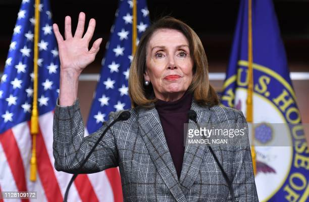 House Speaker Nancy Pelosi speaks during a weekly press conference at the US Capitol in Washington DC on February 28 2019