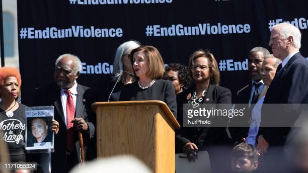 House Speaker Nancy Pelosi speaks during gun violence rally outside the Capitol building on Wednesday, September 25, 2019.