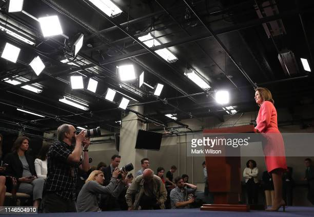 House Speaker Nancy Pelosi speaks during her weekly news conference on Capitol Hill May 2 2019 in Washington DC Among the topics discussed were the...