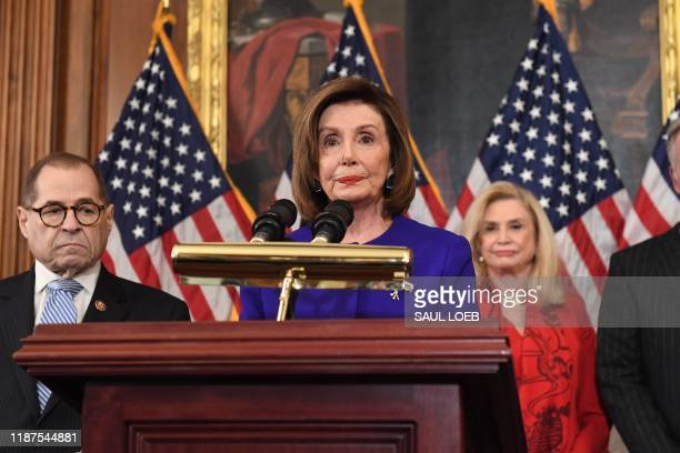 House Speaker Nancy Pelosi speaks next to House Judiciary Chairman Jerry Nadler, Democrat of New York, House Permanent Select Committee on...