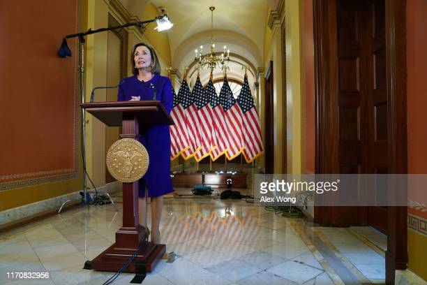 House Speaker Nancy Pelosi speaks to the media at the Capitol Building September 24, 2019 in Washington, DC. Pelosi announced a formal impeachment...
