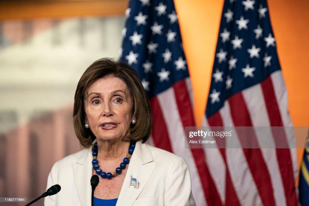Speaker Nancy Pelosi Addresses The Media In Weekly Press Conference : News Photo
