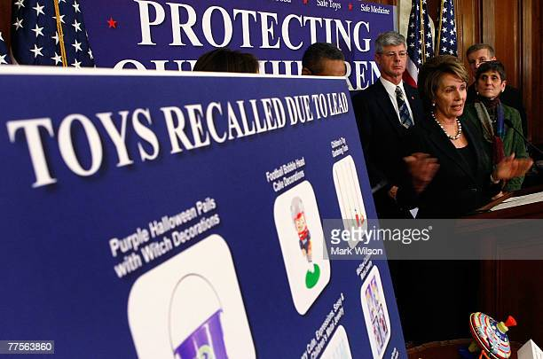House Speaker Nancy Pelosi talks about recalled toys while flanked by Rep Rosa DeLauro and Rep Bart Stupak and other members of Congress during a...