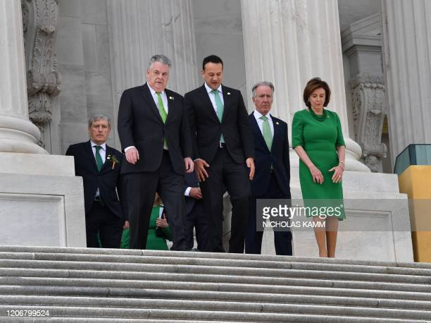House Speaker Nancy PelosiD-CA leaves with Ireland's Prime Minister Leo Varadkar, Rep. Peter King R-NY and and Rep. Richard Neal after the Annual...