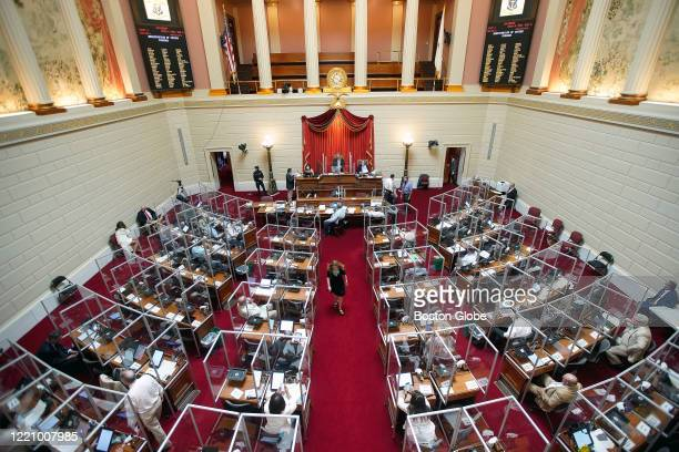 House Speaker Nicholas A. Mattiello presides as a full General Assembly returns to the Providence, RI House and Senate chambers after a hiatus due to...
