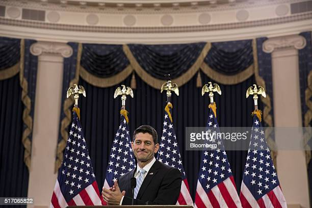 US House Speaker Paul Ryan a Republican from Wisconsin applauds while speaking at the Capitol in Washington DC US on Wednesday March 23 2016 Ryan's...