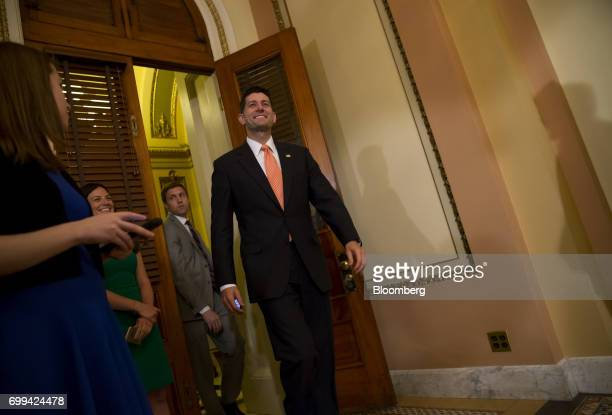 House Speaker Paul Ryan a Republican from Wisconsin arrives to swear in Representative Greg Gianforte a Republican from Montana not pictured during a...