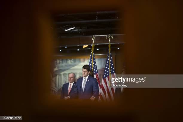 US House Speaker Paul Ryan a Republican from Wisconsin center pauses during a news conference on Capitol Hill in Washington DC US on Thursday Sept 13...
