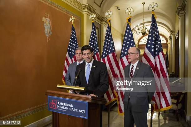US House Speaker Paul Ryan a Republican from Wisconsin center speaks while Representative Greg Walden a Republican from Oregon right and House...