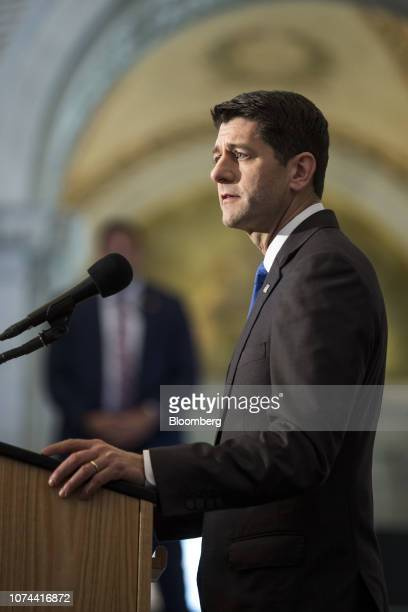 US House Speaker Paul Ryan a Republican from Wisconsin delivers a farewell address at the Library of Congress in Washington DC US on Wednesday Dec 19...