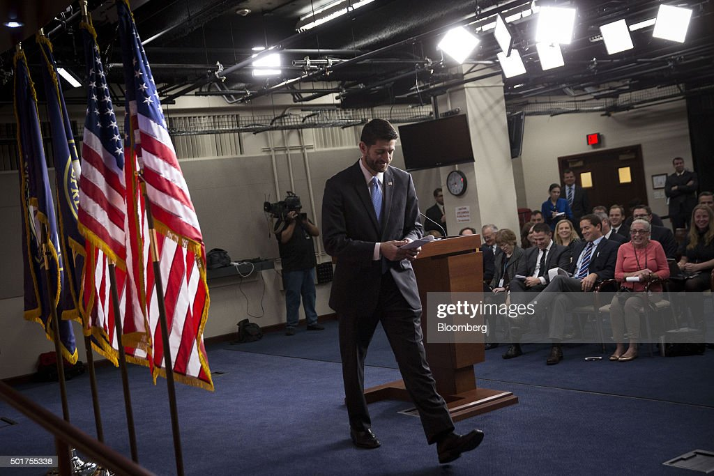 Paul Ryan Holds News Conference As House To Vote On Omnibus Friday : News Photo