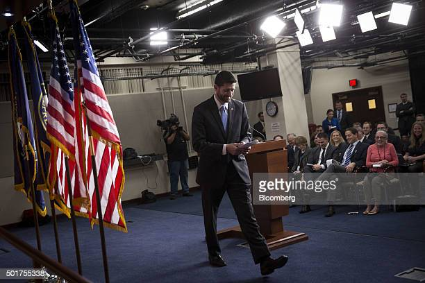 US House Speaker Paul Ryan a Republican from Wisconsin departs after a press conference on Capitol Hill in Washington DC US on Thursday Dec 17 2015...