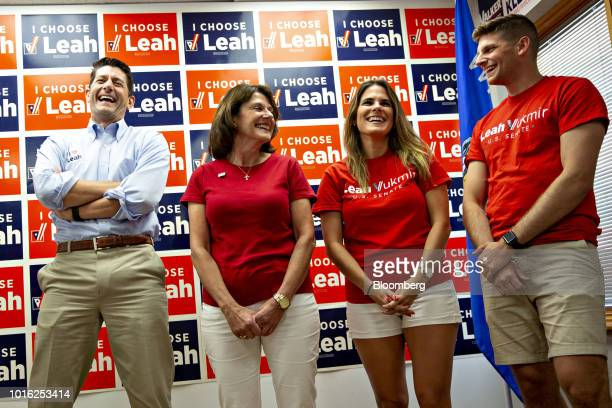 US House Speaker Paul Ryan a Republican from Wisconsin from left laughs with Leah Vukmir a Republican Senate candidate from Wisconsin and her...