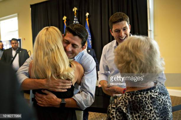 US House Speaker Paul Ryan a Republican from Wisconsin left and Bryan Steil a Republican US Representative candidate from Wisconsin right greet...