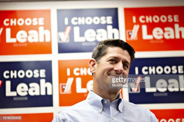 US House Speaker Paul Ryan a Republican from Wisconsin listens during a campaign rally for Leah Vukmir a Republican Senate candidate from Wisconsin...