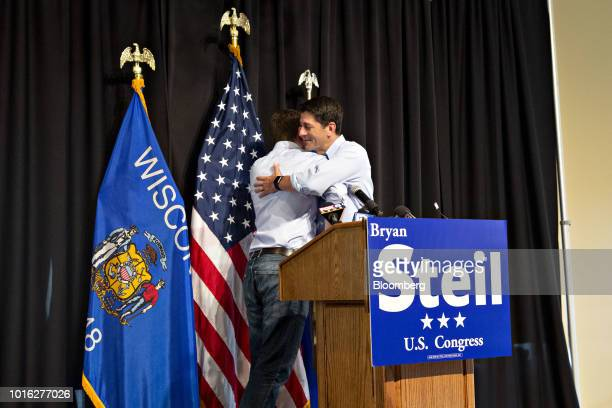 US House Speaker Paul Ryan a Republican from Wisconsin right embraces Bryan Steil a Republican US Representative candidate from Wisconsin as he...