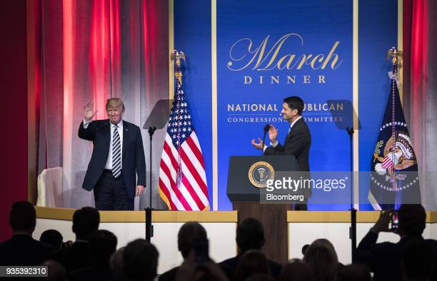 US House Speaker Paul Ryan a Republican from Wisconsin right introduces US President Donald Trump at the National Republican Congressional Committee...
