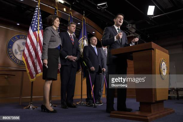 US House Speaker Paul Ryan a Republican from Wisconsin right speaks as Representative Cathy McMorris Rodgers a Republican from Washington from left...