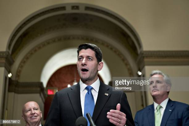 US House Speaker Paul Ryan a Republican from Wisconsin speaks as Representative Kevin Brady a Republican from Texas and chairman of the House Ways...