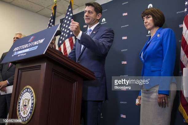 US House Speaker Paul Ryan a Republican from Wisconsin speaks during a news conference on Capitol Hill in Washington DC US on Tuesday July 24 2018...
