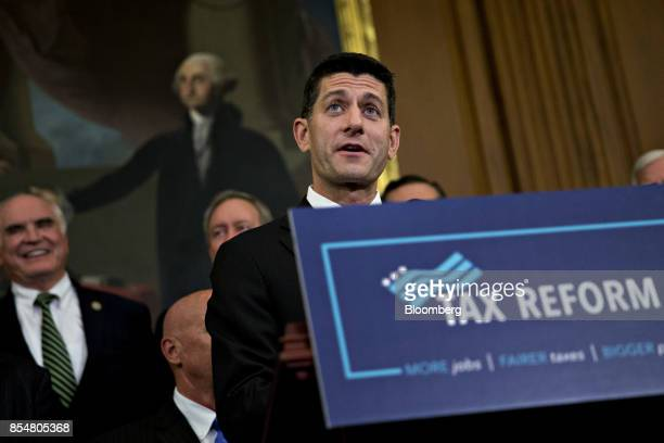 US House Speaker Paul Ryan a Republican from Wisconsin speaks during a news conference on a unified tax reform framework at the US Capitol in...