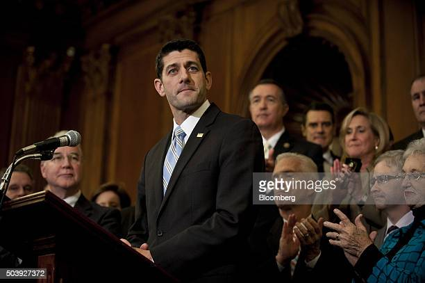 US House Speaker Paul Ryan a Republican from Wisconsin speaks during an Obamacare repeal enrollment ceremony for the Restoring Americans Healthcare...