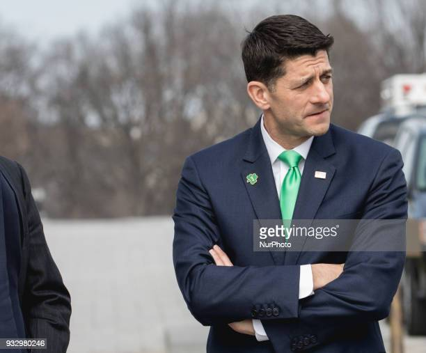 US House Speaker Paul Ryan after the Annual Friends of Ireland luncheon at the US Capitol in Washington DC on Thursday March 15 2018