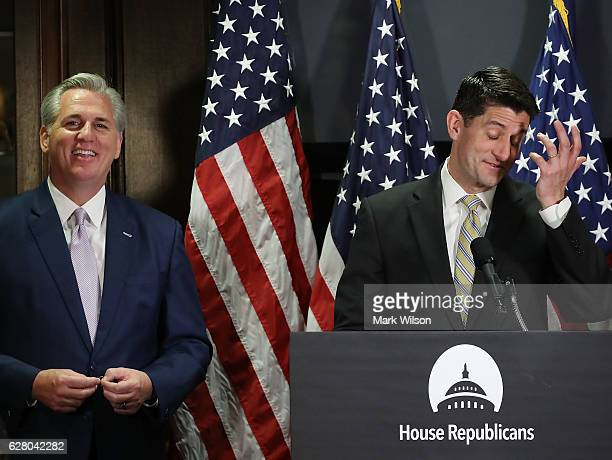 House Speaker Paul Ryan and House Majority Leader Kevin McCarthy speak to the media after attending the weekly House Republican Conference at the...