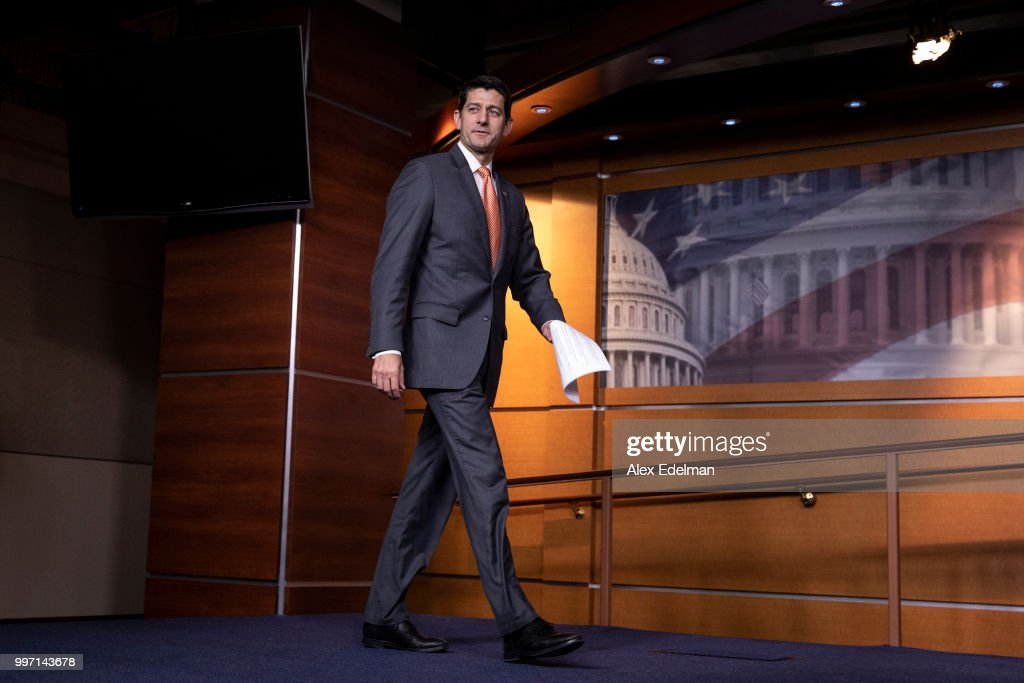 House Speaker Paul Ryan (R-WI) arrives for his weekly press conference at the Capitol on July 12, 2018 in Washington, DC.