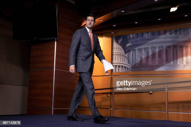 House Speaker Paul Ryan arrives for his weekly press conference at the Capitol on July 12, 2018 in Washington, DC.